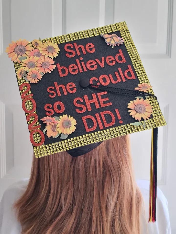 Lori G.'s decorated graduation cap with 235 votes