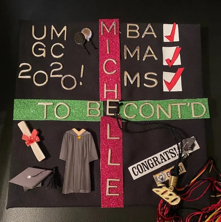 Michelle F.'s decorated graduation cap with 3181 votes