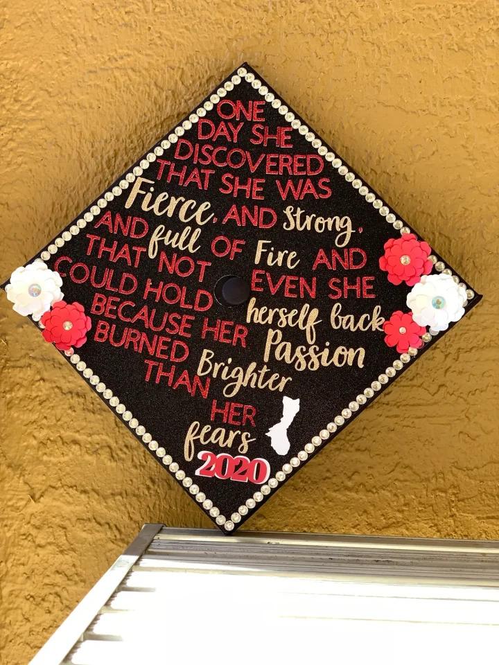 AnnaMarie M.'s decorated graduation cap with 1149 votes