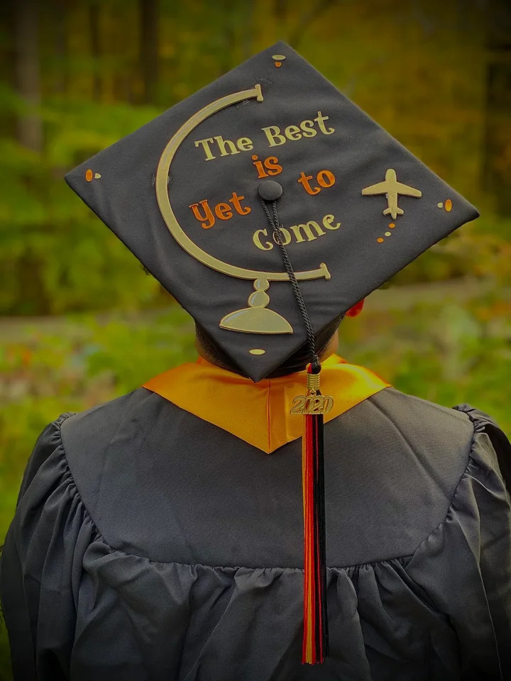 Frank F.'s decorated graduation cap with 400 votes