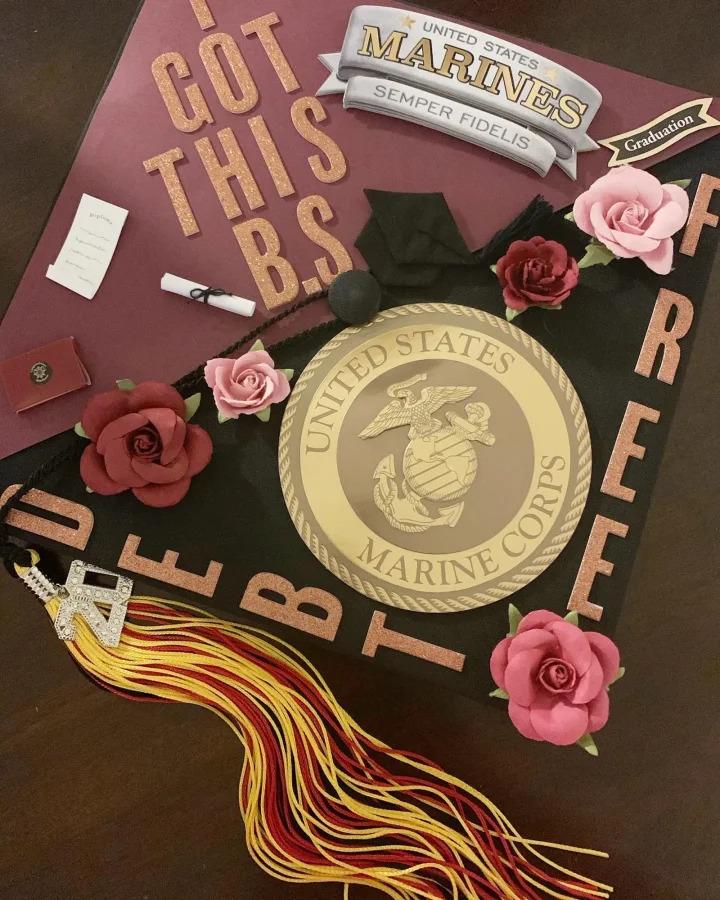 Letticia S.'s decorated graduation cap with 296 votes